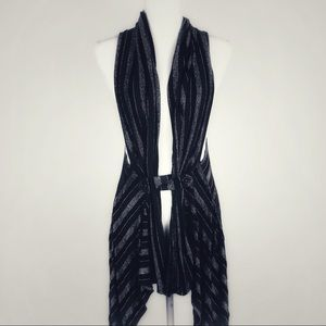 Forever 21 long Silver and Black Striped Vest